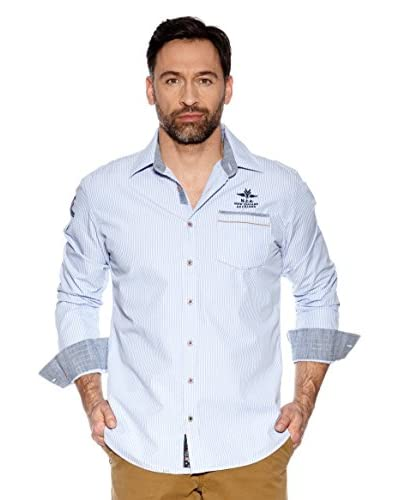 Nza New Zealand Auckland Camicia Uomo [Blu Chiaro/Bianco]