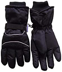 N\'Ice Caps Kids Bulky Thinsulate and Waterproof Winter Ski Glove With Ridges (5-6yrs, Black/Grey Reflector)