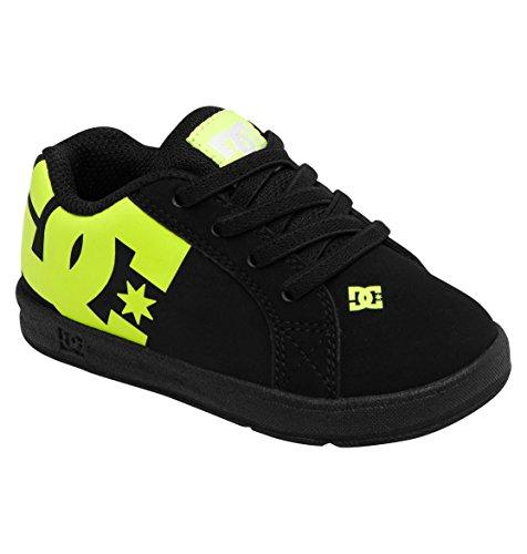 Dc Court Graffik Elastic Ul Skate Shoe (Toddler),Black/Fluorescent Yellow,5 M Us Toddler front-963355