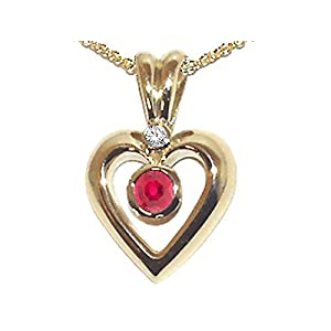 0.33 cts Genuine Ruby and Diamond Heart Shaped Pendants - 14kt White or Yellow Gold