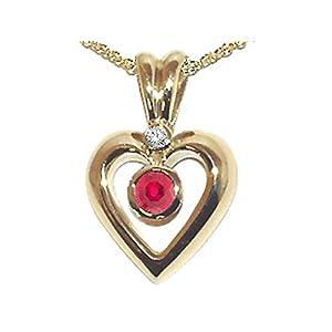 Genuine Ruby and Diamond Heart Shaped Pendants