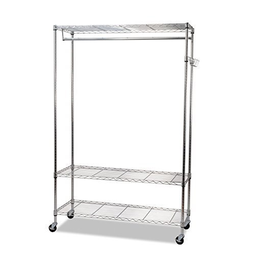 Alera GR354818SR Wire Shelving Garment Rack/Coat Rack/Stand Alone Rack with Casters, Silver (Wire Shelving And Garment Rack compare prices)
