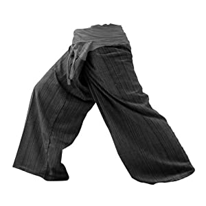 2 Tone Thai Fisherman Pants Yoga Trousers Free Size Cotton Gray and Charcoal