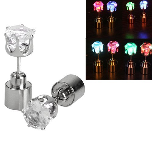 Tech360Cc Crystal Pendant Glowing Light Led Earrings --Color Changing