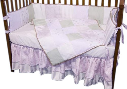 Baby Doll Bedding Rose Garden Brocade and Embroidered Crib Bedding Set, Green