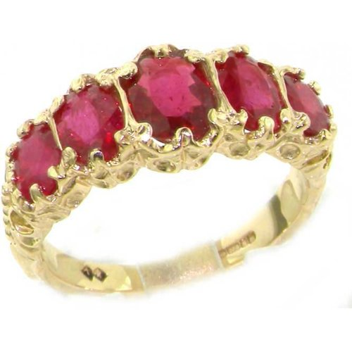 Luxury Ladies Victorian Style Solid Hallmarked 14K Yellow Gold Genuine Ruby Ring - Size 9.25 - Finger Sizes 5 to 12 Available - Perfect Gift for Birthday, Christmas, Valentines Day, Mothers Day, Mom, Mother, Grandmother, Daughter, Graduation, Bridesmaid.