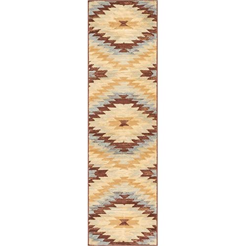"Well Woven 84862 Alamo Southwestern Modern Area Rug, 2 x 72"" Runner, Blue"