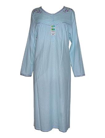 Ladies M&S 100% Cotton Long Sleeve Nightdress in Aqua 8/10 12/14 16/18 20/22 (16-18)