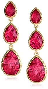 Amrita Singh Three Drop Ruby-Colored Foil Earrings