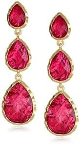 Amrita Singh Three Drop Ruby-Colored Foil Earrings