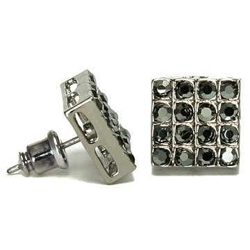 Blackout BLING Men's Square Micro Pave Black Cubic Zirconia CZ Stud Earrings