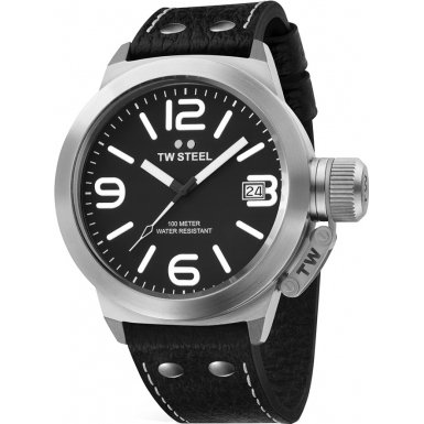 Imagen de TW Steel hombres de cuero de TW2 Cantimplora Negro Reloj Dial Negro