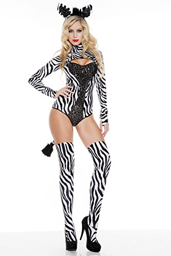 Music Legs Women's Z Is For Sexy Zebra, Black/White, Small/Medium