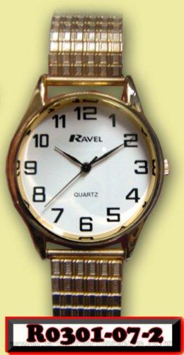Montres-Mesdames Ravel Montre à quartz Doré Extensible (rond)-1de sangle de