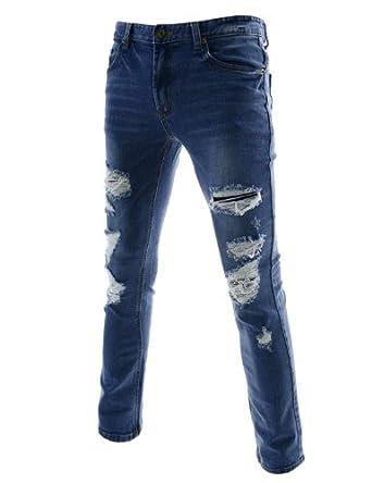 (JPJ652) Mens Slim Fit Destroyed Stretchy Washing Denim Jeans BLUE XX-Large(US 35)