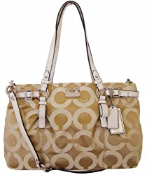 Coach Madison Op Art Signature Sateen Carryall Bag 17688 Lt Khaki Parchment