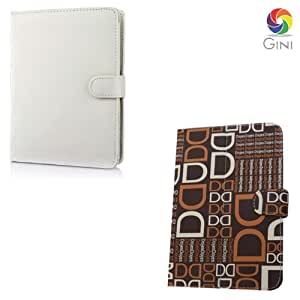 Gini 7 inches Flip cover foriBall Slide 3G 7334Q 10 Tablet Combo of White And Brown with dd text