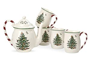 #!Cheap Spode Christmas Tree Peppermint Tea Set