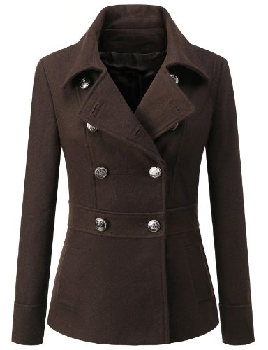 J.Tomson Womens Toggle Hooded Coat W/ Pockets Brown Medium