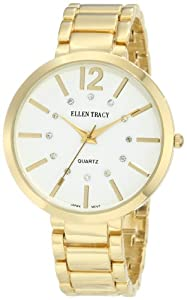 Ellen Tracy Women's ET5033GD Large Gold Round Bracelet Watch