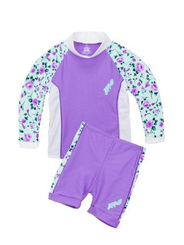 Infant/Toddlers Upf50+ Long Sleeve Uv Rash Guard/ Jammer Set Pl Apparel Color: Lilac / Rose Apparel Size: 9-12 Months