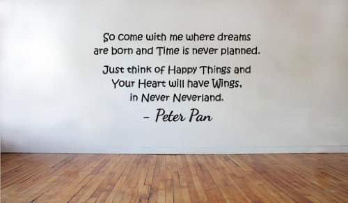 Blinggo come with me where dreams are born peter pan removable Vinyl Wall Decal Home Décor