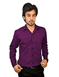 Mc-John Men's Slim Fit Formal Solid Dark Purple Color Cotton Blend Dress Shirt