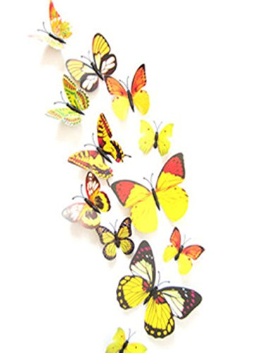 12 Set Pvc 3D Butterfly Decal Wall Stickers Kids Room Decor Decoration Sticker (Yellow)