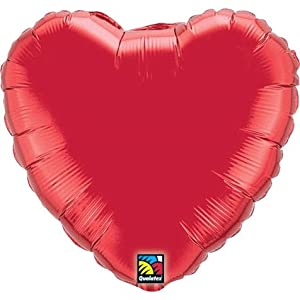"Ruby Red Heart Shaped 36"" Mylar Balloon"