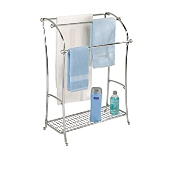 InterDesign York Lyra Free Standing Towel Rack for Bathroom - Brushed Stainless Steel/Chrome