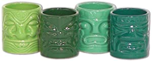 Mini Ceramic Shot Glasses - Tiki Mug 4 Pack