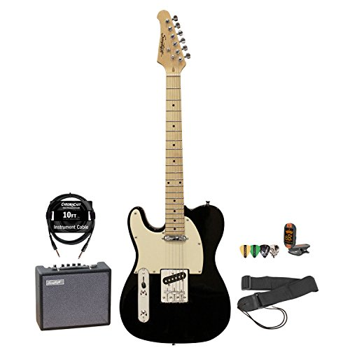 Sawtooth Et Series Left Handed Electric Guitar Black W/Aged White Pickguard, Guitar Instructional, Picks, Tuner, Strap, Cable And Amp
