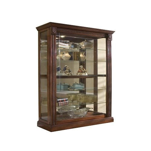 Pulaski Two Way Sliding Door Curio, 43 by 17 by 80-Inch, Medallion Cherry Finish, Brown Veneer Classic 2 Door Cabinet