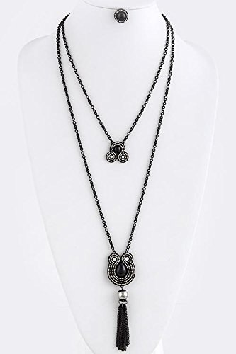 Trendy Fashion Jewelry Pearl Chain Tassel Accent Layer Necklace Set By Fashion Destination | (Black/Silver)