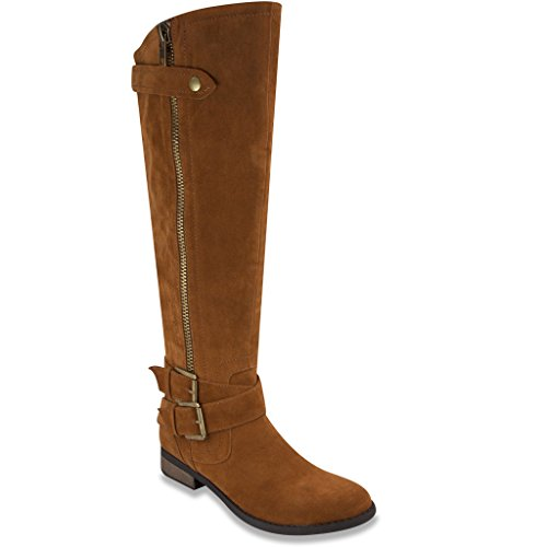 [Rampage Women's Hansel Riding Boot Cognac Fx Suede 8] (Zipper Fx Kit)