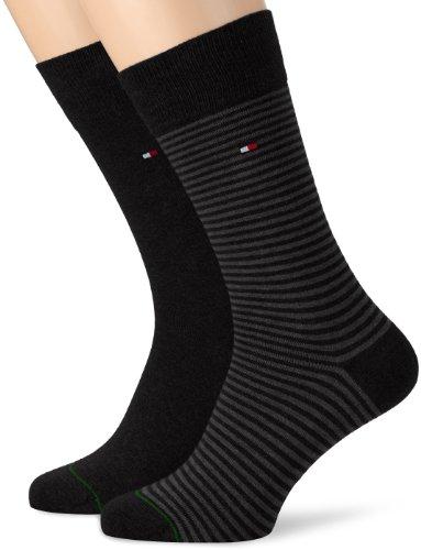 Tommy Hilfiger Th Men Small Stripe Sock 2P - Calzini, uomo, Nero (Schwarz (Black)), 39/42