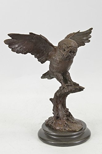 Beautiful Large Abstract Pure Hotcast Bronze Owl Statue Barn Owl Night Patrol Nr