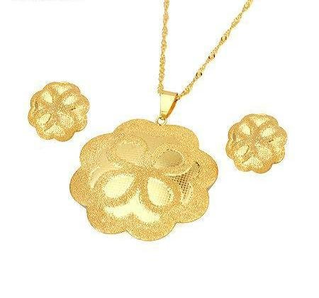 Gold Plated Flower Pendant & Chain with Matching Earrings Fashion Jewelry Set