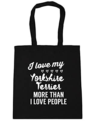HippoWarehouse I love my yorkshire terrier more than I love people Tote Shopping Gym Beach Bag 42cm x38cm, 10 litres