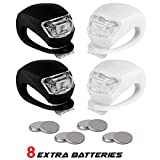 Stupidbright BLINK4 Mini Silicone Strap ON LED Bike Light - 8 Extra Batteries- 4 Lights - 2 Front & Rear Bike Light Set - Black & White
