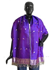 Purple Pure Silk Stole with All over Boota, Zari Border - Silk