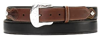 Nocona Men's Concho Billet Leather Belt Black 28