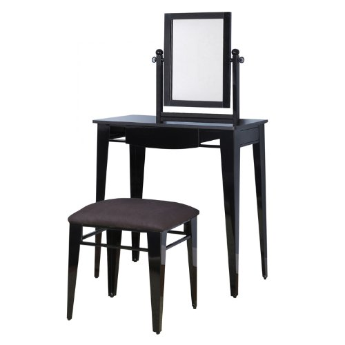 Powell Gloss Black Vanity, Mirror and Bench