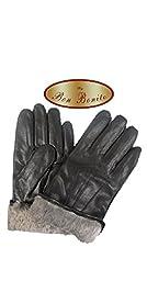 Bon Bonito Men\'s Rabbit Fur Lined Genuine Soft Black or Brown Leather Gloves (Medium - Brown)