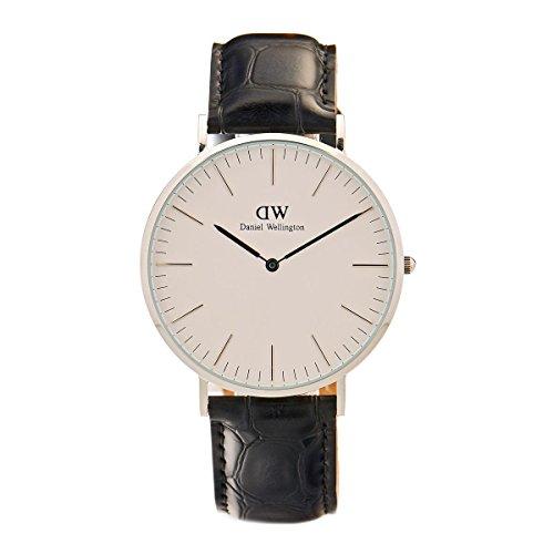 Daniel Wellington 0214DW - Reloj para hombre con correa de cuero, color blanco / gris
