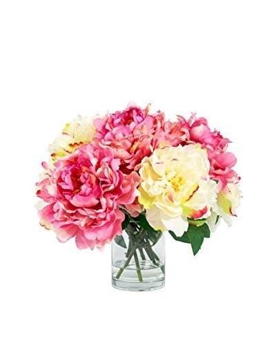 Creative Displays Peonies In Glass Vase, Pink/Cream