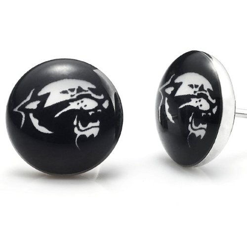 Black Stainless Steel Tiger Stud Earrings for Men