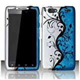 SODIAL(TM) Motorola Droid Razr Maxx XT912M Accessory - Blue/Silver Vines Design Protective Hard Case Cover for Verizon