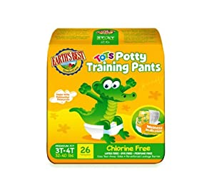 Earth's Best Tots Potty Training Pants, Size 3T-4T, 26 Training Pants (Pack of 4)