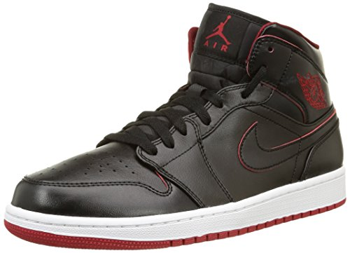Nike Jordan Mens Air Jordan 1 Mid Black/Black/White/Gym Red Basketball Shoe 11 Men US (Jordan 1 Red And Black compare prices)